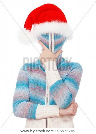 Portrait of a girl in cardigan with a hood with no face. Santa.