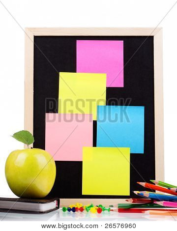 Small wooden blank blackboard isolated on white background
