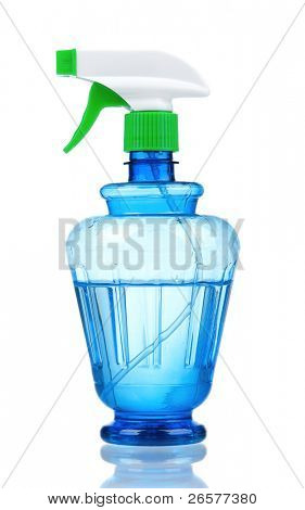 Blue plastic spray bottle on isolated background