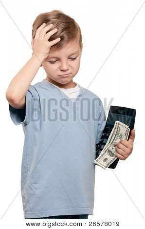 Portrait of a happy little boy with a calculator and dollars over white background