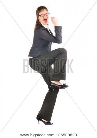 young woman posure a gesture of win