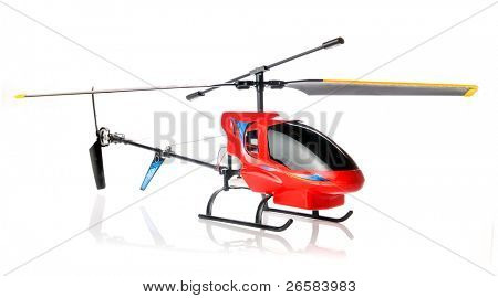Toy helicopter over white background