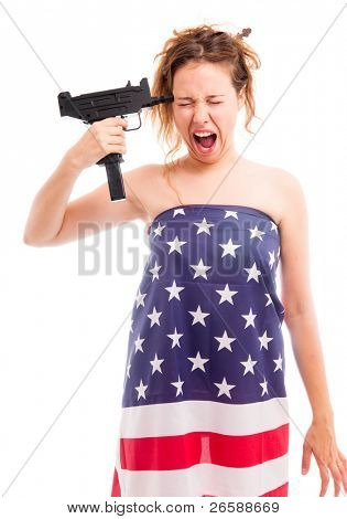 Young woman dress in american flag  is going to commit suicide