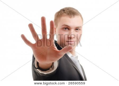 Young man gesturing stop