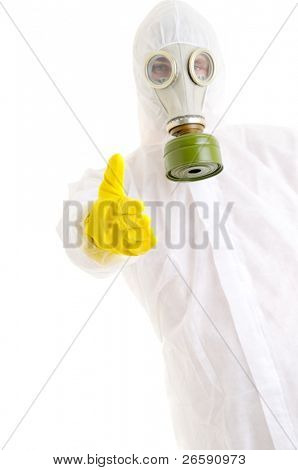 Man in protective suit gesturing welcome.