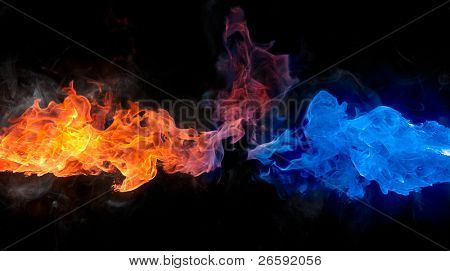 Red and blue fire