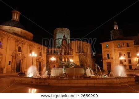 Plaza De La Virgen In Valencia, Spain
