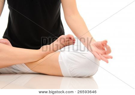 Woman doing yoga isolated over white