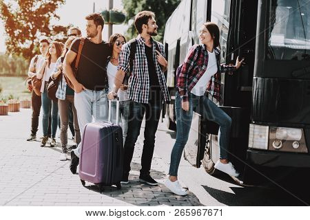 poster of Group Of Young People Boarding On Travel Bus. Happy Travelers Standing In Queue Holding Luggage Wait