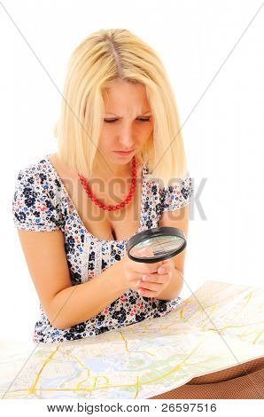 attraktive junge Blondine Studium Karte over white background