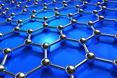 stock photo of graphene  - Abstract 3D illustration of blue molecular nanostructure model - JPG