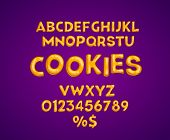Cookies Alphabet Vector Set. Gingerbread Font. Biscuit Lettering. Brown Bold Capital Letters, Number poster