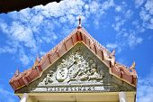 Culture Stone Carving On Temple Wall.thai Culture Stone Carving On Temple Wall. poster