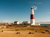 White And Red Large Lighthouse Isle Of Portland Weymouth Building Summer poster