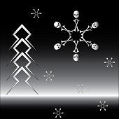 picture of head femur  - Bone snowflake and firtree made of lightning - JPG