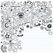 Hand-Drawn Superstar Scribble Inky Doodles- Back to School Notebook Doodle Design Elements on Lined