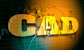 Forex Candlestick Pattern. Trading Chart Concept. Financial Market Chart. Canadian Dollar Symbol. 3d poster