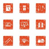 Data Movement Icons Set. Grunge Set Of 9 Data Movement Vector Icons For Web Isolated On White Backgr poster