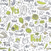 Ketogenic Food Vector Seamless Pattern, Sketch. Healthy Keto Food - Fats, Proteins And Carbs On Endl poster