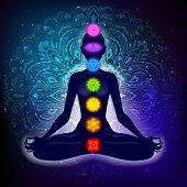 Meditating Woman In Lotus Pose. Yoga Illustration. Colorful 7 Chakras And Aura Glow. Mandala Backgro poster