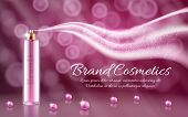 3d Realistic Ad, Promotion Cosmetic Banner Of Essence, Mock Up With Glass Spray And Wave, Plume Of S poster