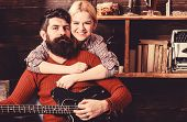 Romantic Evening Concept. Lady And Man With Beard On Happy Faces Hugs And Plays Guitar. Couple In Wo poster