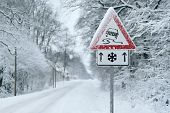 Winter Driving - Heavy Snowfall On A Country Road. Driving On It Becomes Dangerous ... poster