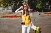 Joyful Traveler Tourist Woman In Orange Heart Glasses With Suitcase City Map Retro Vintage Photo Cam poster