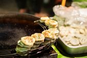 Fried Chinese Steamed Chives Dumplings. Chinese Steamed Chives Dumplings Is Chinese Snack By The Flo poster