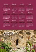 Wall Calendar For 2019 Year, Single Page With Photo poster