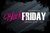 Black Friday Sale Banner With Brush Stroke Background And Hand Lettering Text Design For Black Frida poster