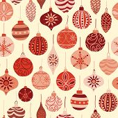 Vintage Christmas Ornaments Red And Beige Seamless Vector Pattern Background. Repeated Retro Christm poster