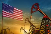 Usa Oil Industry Concept, Industrial Illustration. Fluttering Usa Flag And Oil Wells On The Blue And poster