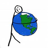 picture of environmentally friendly  - A stick person holding the globe  - JPG