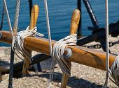 Pulley For Sails And Ropes Made From Wood On An Old Traditional Sail Boat Sailing Background Image poster
