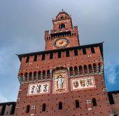 Sforza Castle. The Central Tower Is The Filaret Tower. Architect Antonio Filarete. The Clock Is Loca poster