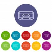 Audio Cassette Icon. Outline Illustration Of Audio Cassette Icon For Web poster