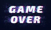 Game Over. Games Screen Glitch, Computer Video Gaming Phrase And Playing Final Level Death Screen Wi poster