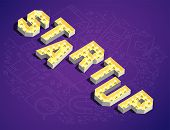 Startup. The Word Startup In Retro Style. 3d Retro Word Startup. Lamp Glow Retro Word Startup. Vecto poster