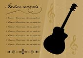 Guitar Concerts Program Template With Black Guitar Silhouette, Sample Text, Calligraphic Ornament An poster