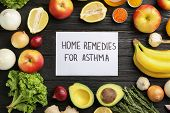Natural Products And Note With Text Home Remedies For Asthma On Wooden Background, Flat Lay poster