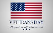 United States Flag With Text: Veterans Day poster