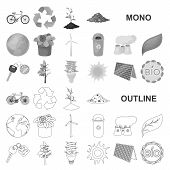 Bio And Ecology Monochrom Icons In Set Collection For Design. An Ecologically Pure Product Vector Sy poster