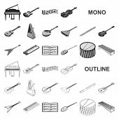 Musical Instrument Monochrom Icons In Set Collection For Design. String And Wind Instrument Isometri poster