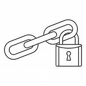 Secured Lock Icon. Outline Illustration Of Secured Lock Vector Icon For Web Design Isolated On White poster