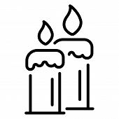 Burning Candles Icon. Outline Burning Candles Vector Icon For Web Design Isolated On White Backgroun poster