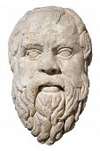 Stone head of the greek philosopher Socrates isolated on white with clipping path