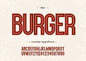 Vector Bold Burger Font Modern Typography Sans Serif 3d Style For Menu, Food Market, Promotion, Post poster