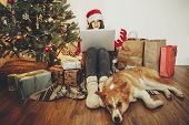 Happy Girl In Santa Hat Shopping Online On Laptop And Sitting With Cute Dog At Golden Beautiful Chri poster