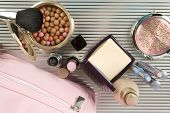 Lots Of Decorative Cosmetics Mascara, Powder, Foundation, Cosmetic Bag poster